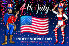 Illustration of a girl and men celebrating Independence Day Vector Poster. 4th of July Lettering. American Red Flag on Blue Backgr. Ound with confetti art stock illustration