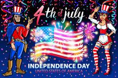 Illustration of a girl and men celebrating Independence Day Vector Poster. 4th of July Lettering. American Red Flag on Blue Backgr. Ound with Stars burst Royalty Free Stock Photo