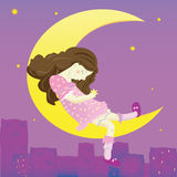 Illustration of girl on the moon Stock Photography