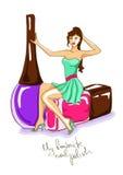 Illustration with girl and nail polish bottles Stock Photo