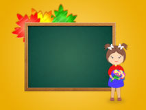 Illustration of a girl near a school board Royalty Free Stock Photos