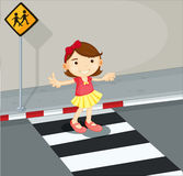 A girl in the pedestrian lane Royalty Free Stock Photos