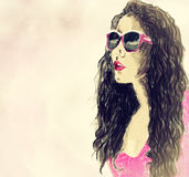 Illustration of girl in pink. Creative hand painted fashion illustration of girl in pink Royalty Free Stock Photos