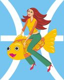 Illustration girl Pisces. Illustration girl  zodiac Pisces on a fish Royalty Free Stock Photography