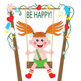 Illustration of a girl playing swing Royalty Free Stock Photo
