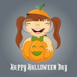 Illustration of a Girl on Pumpkin halloween Stock Images