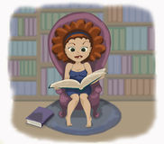 Illustration of a girl reading a book Stock Photography