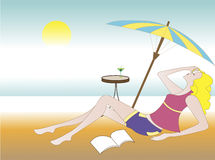 Illustration of a girl relaxing Royalty Free Stock Photo