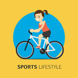Illustration of girl riding a bicycle, flat vector Stock Images