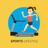 Illustration of girl running on the treadmill. Royalty Free Stock Photo