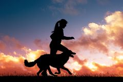 Girl runs with dog at sunset. Illustration of girl runs with dog at sunset Royalty Free Stock Photos