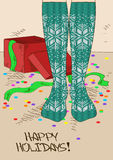 Illustration with girl's feet in knitted stockings. Illustration with close up girl's feet in Scandinavian patterned knitted stockings Royalty Free Stock Image