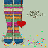 Illustration with girl's feet in knitted stockings. Illustration with close up feet in striped knitted stockings and heart gift Royalty Free Stock Photo