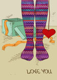 Illustration with girl's feet in knitted stockings. Illustration with close up girl's feet in striped knitted stockings and heart gift Royalty Free Stock Photo