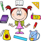 Illustration of a girl with school supplies. On a white background Stock Photos