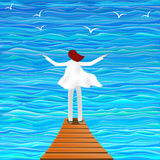 Illustration of a girl by the sea Stock Photo