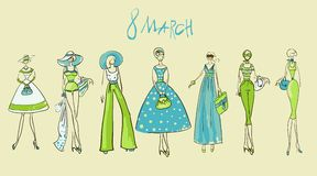 Illustration of a girl set 8March. Illustration of a girl 8March. Template for design and decoration set Royalty Free Stock Photography
