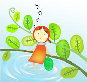 Illustration of a Girl singing Royalty Free Stock Images