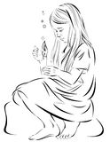 Illustration of girl sitting with a candle. Royalty Free Stock Photo