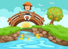 Illustration of a girl sitting on wooden bridge in nature landsc Royalty Free Stock Image