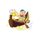 Illustration: The Girl in a Small Boat isolated on White Background. Stock Image