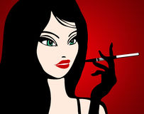 Illustration of a girl smoking Royalty Free Stock Images