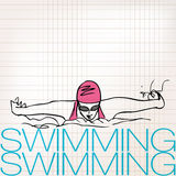 Illustration of Girl swimming in butterfly stroke style Stock Photos