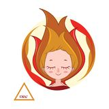 Illustration of a girl symbolizing fire element. Illustration of a girl symbolizing the fire element Royalty Free Stock Image