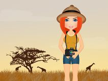 Girl takes photographs at the safari. Illustration of girl takes photographs at the safari stock illustration