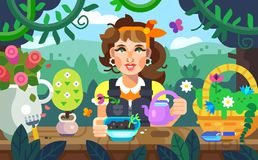 Illustration of a girl watering flowers in the garden, colorful Royalty Free Stock Image
