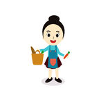 Illustration of a Girl Wearing an Apron Royalty Free Stock Photo