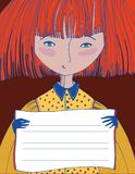 Illustration of a girl. Who keeps sign Royalty Free Stock Image