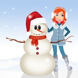 Girl in winter makes the snowman. Illustration of girl in winter makes the snowman Royalty Free Stock Image