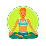 Illustration of a girl yoga Stock Photos
