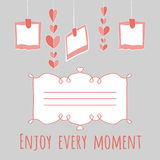 Illustration girlnda of hearts and photos.enjoy every moment lettering. with place for your text. Royalty Free Stock Image