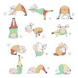 Illustration of kids doing yoga. Illustration of girls doing yoga. kids in yoga postures stock illustration