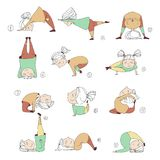 Illustration of kids doing yoga. Illustration of girls doing yoga. kids in yoga postures Stock Photos