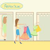 Girls in a fitting room. Illustration of girls in a fitting room Royalty Free Stock Photo