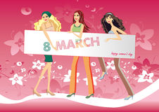 Illustration girls with an inscription 8 march and Happy Women's Day Stock Photography