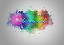 Illustration glücklichen Holi Hintergrundes abstrakter bunter Inder Festivel Lizenzfreie Stockfotos
