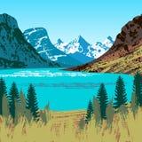 Illustration of Glacier National Park Royalty Free Stock Photos