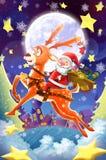 Illustration: Glad jul och lyckligt nytt år! Den lyckliga Santa Claus och hans hjortuppsättning av som överför dig gåvor! Arkivfoton