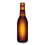 Illustration of Glass Beer Bottle On White Background Stock Image