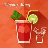 Illustration with glass of bloody mary in flat Royalty Free Stock Photos