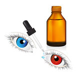 Illustration of glass  bottle with pipe dropper conjunctivitis  Royalty Free Stock Photos