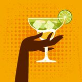 Illustration with glass of margarita and hand Stock Photos