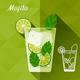 Illustration with glass of mojito in flat design. Style stock illustration