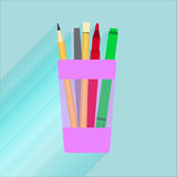 Illustration glass for pencils with a red marker, pen, pencil.  Royalty Free Stock Images