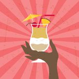 Illustration with glass of pina colada and hand Royalty Free Stock Images
