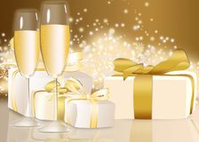 Illustration of glasses and gifts Stock Images